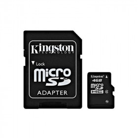 Карта памяти MicroSDHC 4Gb Class4 Kingston с адаптером