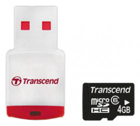 Transcend <TS4GUSDHC6-P3> Micro SecureDigital High Capacity (MicroSDHC) Memory Card 4Gb Class6 + USB microSD Reader