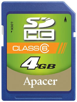 Карта памяти 4GB Secure Digital Card, High Capacity (SDHC) Class 6, Apacer - AP4GSDHC6-R