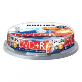 DVD+R Philips 4,7GB 16х Cake box, 10 штук, 908210005737