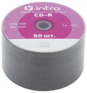 Диск CD-R INTRO 52X 700MB, уп. 50 штук