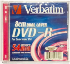 Диск DVD-R mini 2.6 Gb двуслойный Verbatim Dual Layer, упаковка 3 штуки