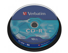 Диск CD-R Verbatim 700Mb 52x DataLife, уп. 10 штук на шпинделе