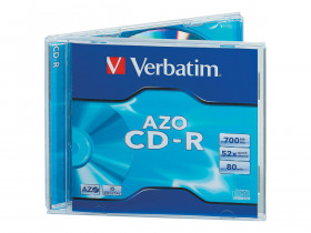 Диск CD-R VERBATIM Azo Crystal 700 Mb 52x в боксе Jewel Case, 43327